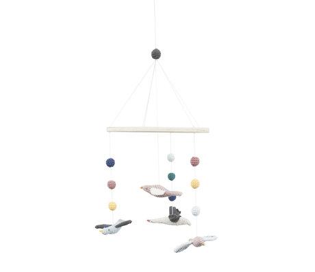 Sebra Mobile Singing birds multicolour textile wood 22x57cm