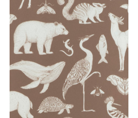 Ferm Living kids Wallpaper Katie Scott Animals Toffee brown 10x0.53m