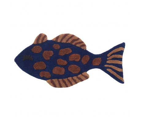 Ferm Living kids Carp / Fish rug Tufted multicolour wool cotton 38x78cm
