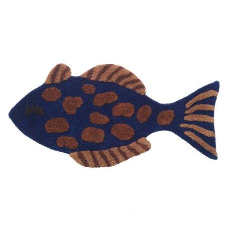 Ferm Living kids Vloerkleed / wandkleed Fish Tufted multicolour wol katoen  38x78cm