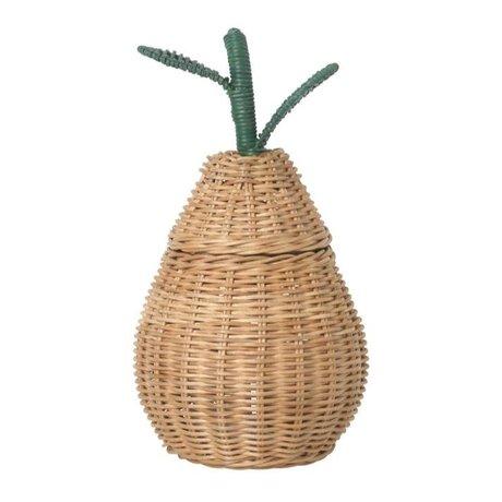 Ferm Living kids Opbergmand Small Pear Braided Storage naturel bruin rotan 19x30cm