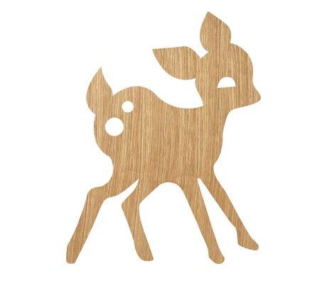 Ferm Living kids Wandlamp My Deer Oiled Oak naturel bruin hout 6,5x29x38,5cm