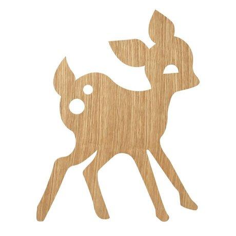 Ferm Living kids Wall lamp My Deer Oiled Oak natural brown wood 6.5x29x38.5cm