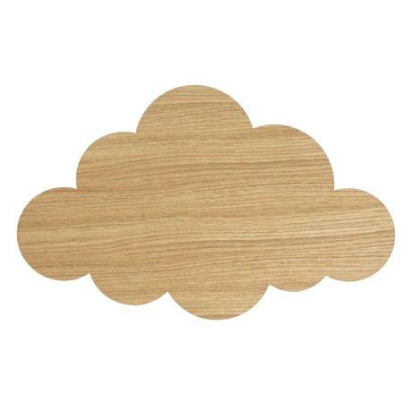 Ferm Living kids Wandlamp Cloud Oiled Oak naturel bruin hout 6,5x40x25cm