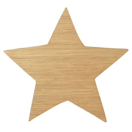 Ferm Living kids Wall lamp Star Oiled Oak natural brown wood 6.5x29.8x33cm
