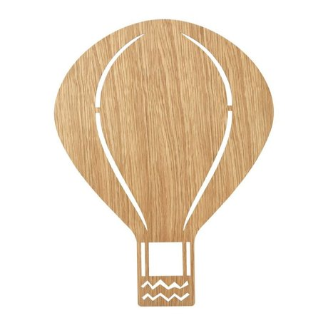 Ferm Living Wandlamp Air Balloon Oiled Oak naturel bruin hout 6,5x26,5x24,5cm
