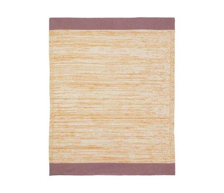 Ferm Living Plaid Dusty Rainbow Blanket Mustard geel katoen 100x80cm