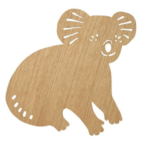 Ferm Living kids Wall light Koala Oiled Oak natural brown wood 6x30,41x34cm