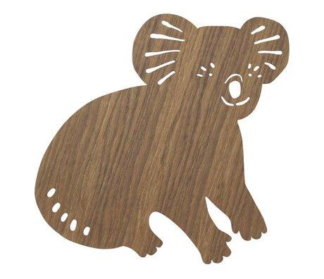 Ferm Living Wandlamp Koala Smoked Oak donker bruin hout 6x30,41x34cm