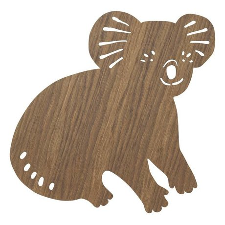 Ferm Living kids Wall light Koala Smoked Oak dark brown wood 6x30,41x34cm