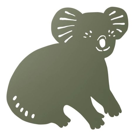 Ferm Living kids Wall lamp Koala Dark Olive green wood 6x30,41x34cm