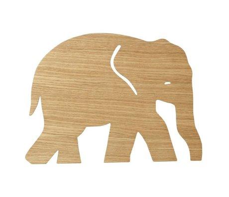 Ferm Living kids Wandlamp Elephant Oiled Oak naturel bruin hout 6x35,4x26cm