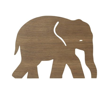 Ferm Living kids Wall lamp Elephant Smoked Oak dark brown wood 6x35.4x26cm