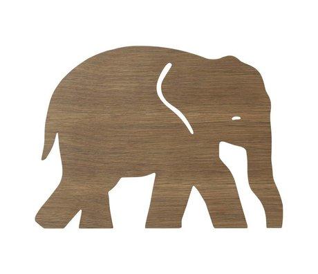 Ferm Living kids Wandlamp Elephant Smoked Oak  donker bruin hout 6x35,4x26cm