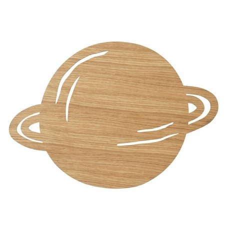 Ferm Living kids Wandlamp Planet Oiled Oak naturel bruin hout 6,5x39x28cm