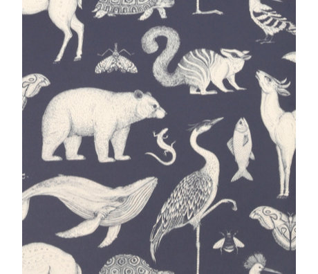Ferm Living Behang Katie Scott Animals donker blauw 10x0,53m