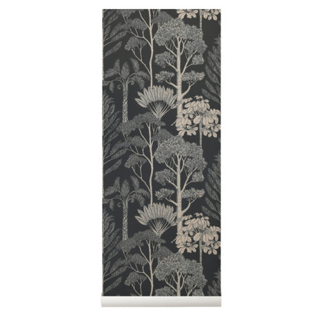 Ferm Living kids Behang Katie Scott Trees bruin grijs 10x0,53m