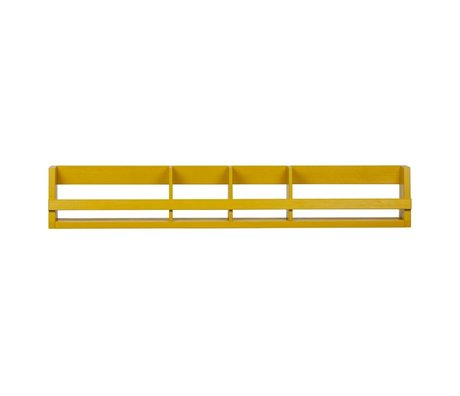 LEF collections Wall rack Sammie mustard yellow pine 150x15x25cm