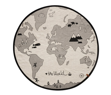 OYOY Kids Rug the world black and white cotton 135cm