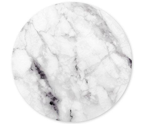 Groovy Magnets Kindermagneetsticker marble wit zelfklevend vinyl met ijzerdeeltjes Ø60cm