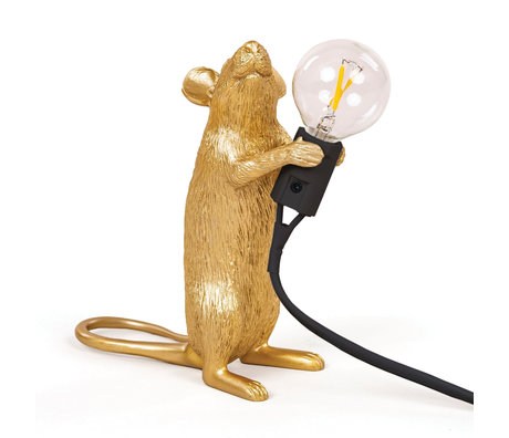 Seletti Children's table lamp Mouse gold plastic 6x13.3x14.5cm