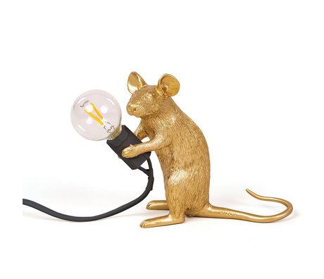 Seletti Kindertafellamp Mouse goud kunststof 5x15x12,5cm