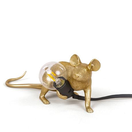 Seletti Kindertafellamp Mouse goud kunststof 6,2x21x8,1cm
