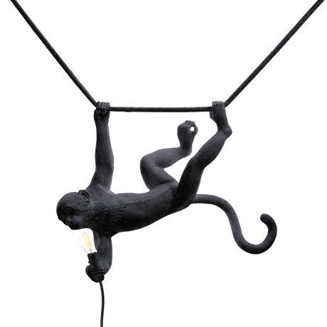 Seletti Children's hanging lamp Monkey Swing black plastic 59x40x44cm