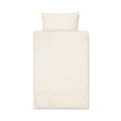 Ferm Living Children's duvet cover Dot embroidered Baby Off-White cotton 70x100cm