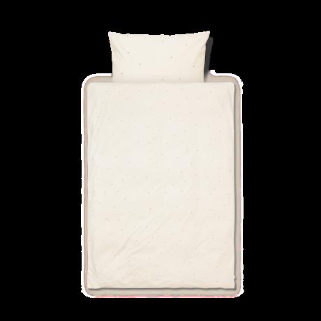 Ferm Living Kinderdekbedovertrek Dot geborduurd Baby Off-White katoen 70x100cm