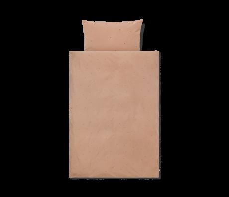 Ferm Living Kinderdekbedovertrek Dot geborduurd Junior Dusty Roze katoen 100x140cm