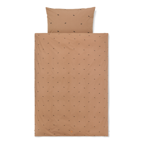 Ferm Living Children's duvet cover Horse Baby Tan brown cotton 70x100cm