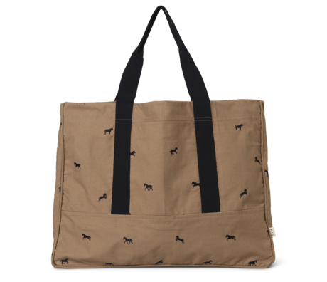 Ferm Living Children's bag Horse embroidered Tan brown cotton 60x25x45cm