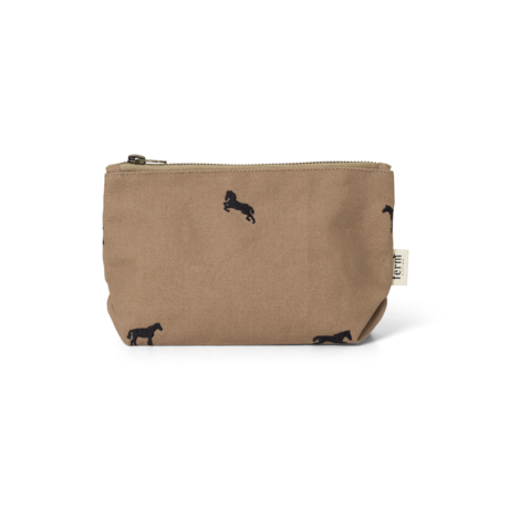 Ferm Living Clutch Horse embroidered Small Tan brown cotton 20x6.5x12cm