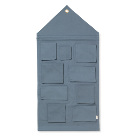 Ferm Living Child storage bag House dusty blue cotton 50x98cm