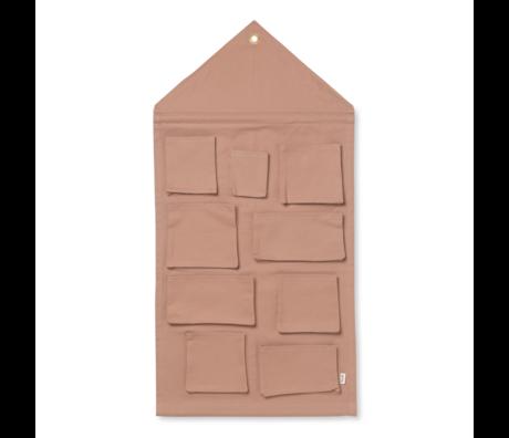 Ferm Living Kinderopbergzak House dusty roze katoen 50x98cm