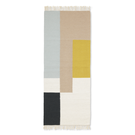 Ferm Living Children's floor rug Kelim Runner Squares multicolour wool cotton 180x70cm