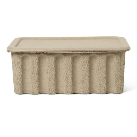 Ferm Living Children's storage box Paper Pulp large brown cardboard 30x40x15cm set of 2