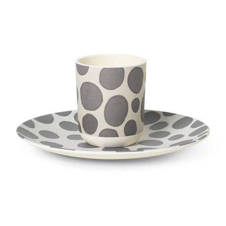Ferm Living Kinderservies Safari Giraffe wit grijs bamboe set van 2