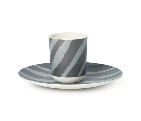Ferm Living Children's crockery Safari Zebra gray blue bamboo set of 2
