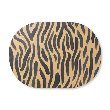 Ferm Living Kinderplacemat Safari Tiger geel zwart  MDF kurk 46x33cm