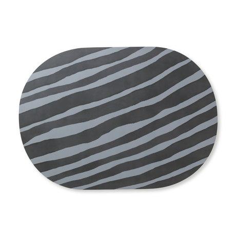 Ferm Living Children's placemat Safari Zebra gray blue MDF cork 46x33cm