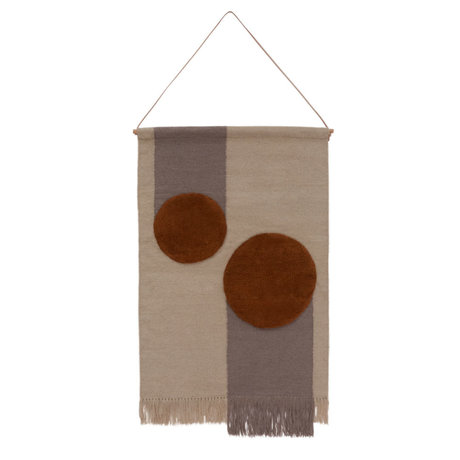 OYOY Children's wall rug Kika off-white brown textile 80x120cm
