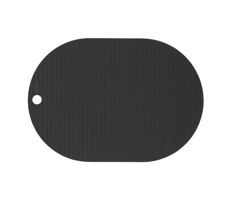 OYOY Kinderplacemat Ribbu zwart siliconen set van 2 33x46cm