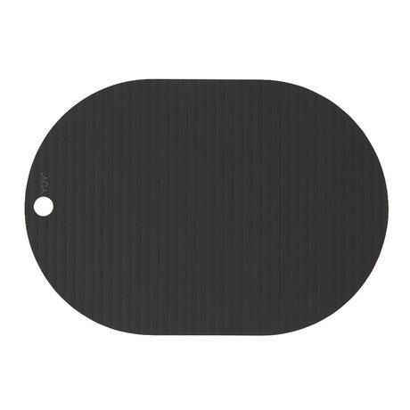 OYOY Children's placemat Ribbu black silicone set of 2 33x46cm