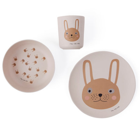 OYOY Kinderservies Rabbit roze set van 3