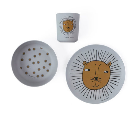 OYOY Kinderservies Lion grijs set van 3