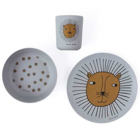 OYOY Children's crockery Lion gray set of 3