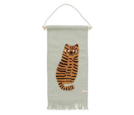OYOY Kinderwandkleed Tiger mint groen textiel 32x70cm