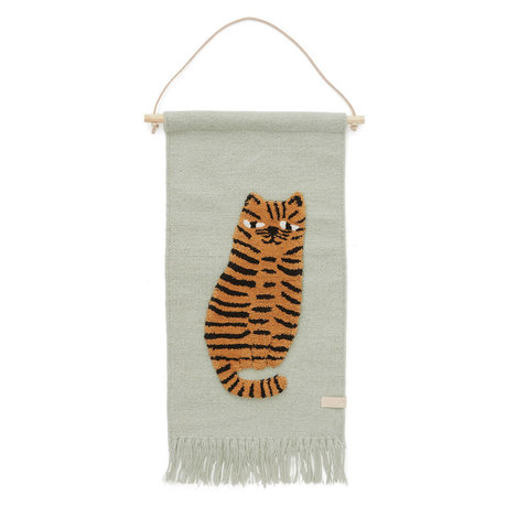 OYOY Children's wall rug Tiger mint green textile 32x70cm